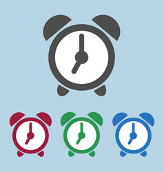 set of color alarm clock icons sign symbol vector image
