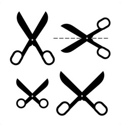 set of different scissors silhouettes isolated vector image