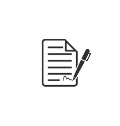Signing contract icon isolated on white vector