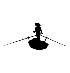 silhouette of rowing asian person vector image