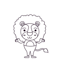 Sketch silhouette caricature of cute lion in pants vector