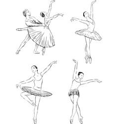 sketches ballet dancers vector image