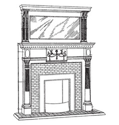 Small brickwork mantel fireplace vintage engraving vector