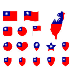 taiwan flag icon set flag of the republic vector image