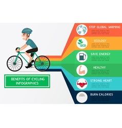 The benefits of cycling infographics vector