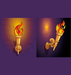 Torches with burning fire the ornate decor night vector