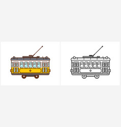 Tram coloring page for kids side view vector