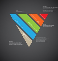 triangle template consists five color parts on vector image