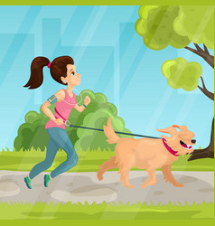 walk in city park in flat vector image