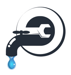 water tap with repair tool vector image