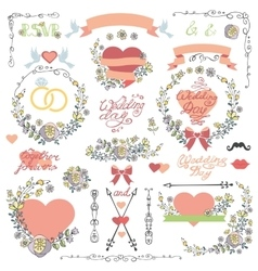 Wedding invitation decor setDoodle Floral wreath vector