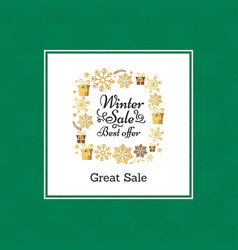 winter great sale poster in frame on vector image