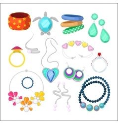 Woman Fashion Accessories Set with Rings vector