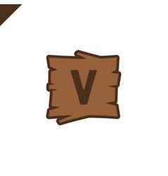 Wooden alphabet or font blocks with letter v vector