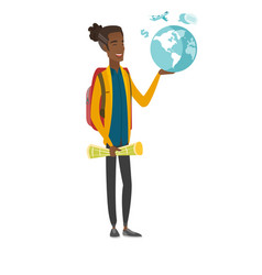 Young african traveler holding map and globe vector