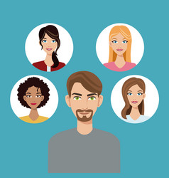 young man beard community faces icon vector image
