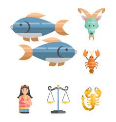 zodiac signs flat set of horoscope symbols star vector image