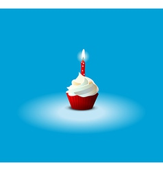 Cake for Birthday on blue background EPS 10 vector image