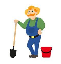 cartoon farmer with shovel bucket vector image vector image