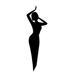 elegant black silhouette of a woman or a girl with vector image vector image