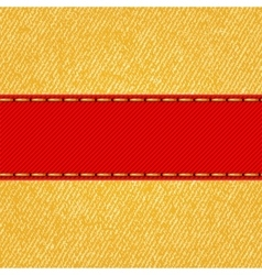 Fabric texture with label ribbon vector image vector image