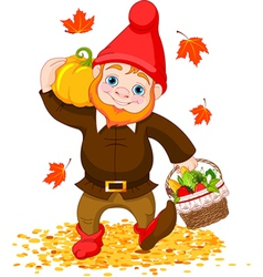Garden Gnome with harvest vector image