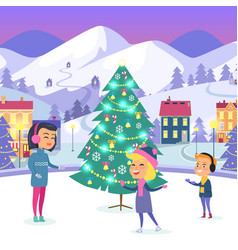 people on icerink in decorated christmas town vector image