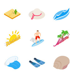 beachfront icons set isometric style vector image vector image