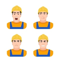 Builder worker at construction different emotions vector image