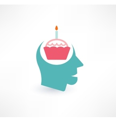 Cake and head icon Thoughts about food concept vector image
