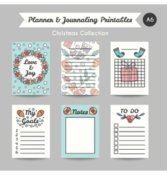 Christmas Printable Journaling Cards Line Style vector image vector image