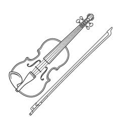 dark contour fiddle violin vector image vector image