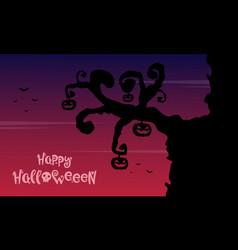 Halloween background wiith tree pumpkin vector
