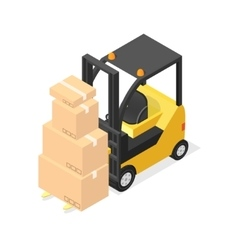 Lift Truck and Cardboard Boxes Isometric View vector image vector image