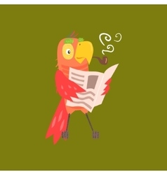 Parrot reading newspaper image vector