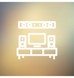 TV flat screen and home theater thin line icon vector image