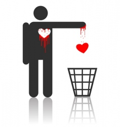 vector character with bloody heart vector image vector image