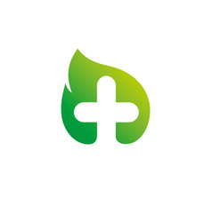eco logo template medical health care logotype vector image vector image