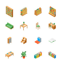 furniture for library 3d icons set isometric view vector image
