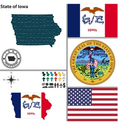 Map of iowa with seal vector