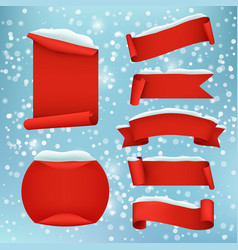 red realistic winter banner set vector image vector image