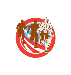 American Crossfit Runners USA Flag Circle Retro vector image