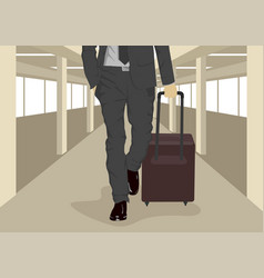 businessman carrying suitcase at airport vector image