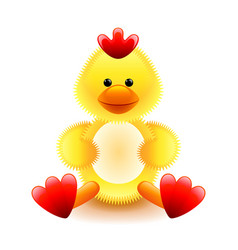 cute yellow chicken soft toy isolated on white vector image