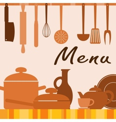 Kitchen background for menu cover vector image vector image