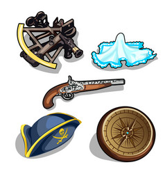 set of pirate hat gun and antique compass vector image vector image