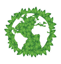 silhouette of earth and green leaves vector image vector image
