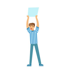 Smiling football fan character in blue holding vector