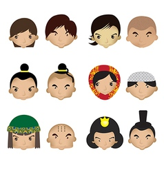 a kids faces on white background vector image