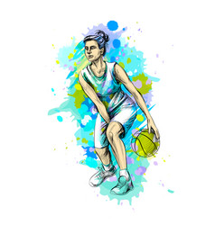 abstract basketball player with ball from a splash vector image